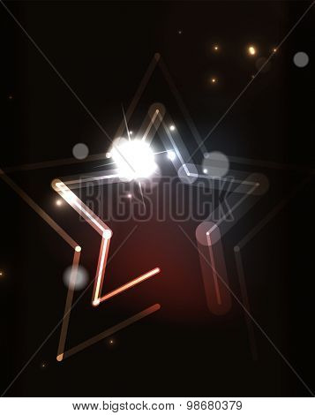 Glowing star and blending colors in dark space.  illustration. Abstract background