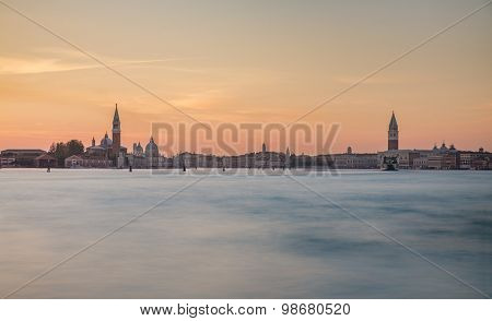 Venice panorama from sea during sunset