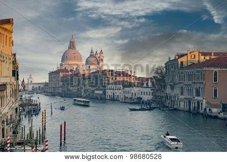 Grand Canal and Basilica Santa Maria della Salute during sunset, Venice, Italy