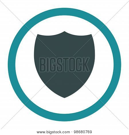 Shield flat soft blue colors rounded vector icon