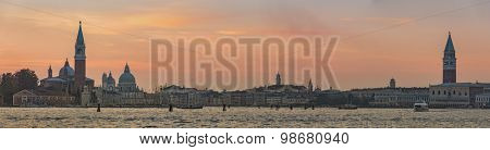 Venice panorama from sea during magical sunset