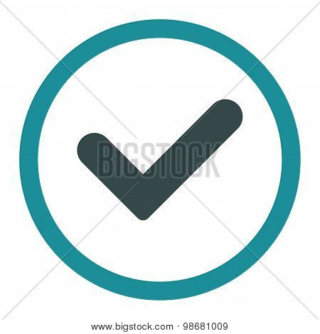 Yes flat soft blue colors rounded vector icon
