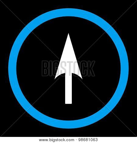 Arrow Axis Y flat blue and white colors rounded raster icon