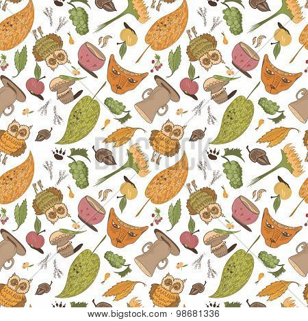 Vector Fall Sketch Pattern
