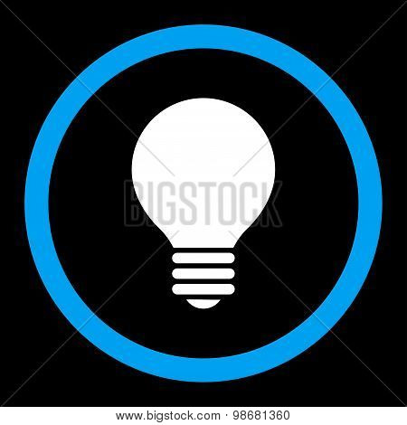Electric Bulb flat blue and white colors rounded raster icon