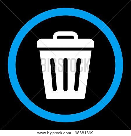 Trash Can flat blue and white colors rounded raster icon