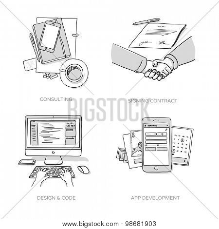 Consulting, Signing contract, Website design & coding, App development - set of hand drawn illustrations