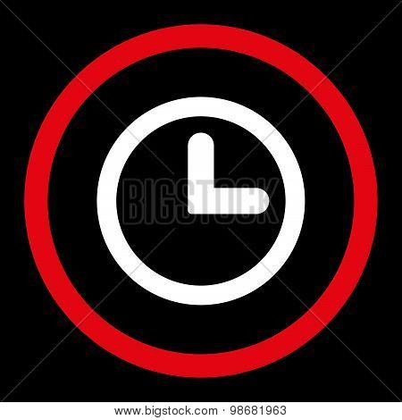 Clock flat red and white colors rounded raster icon