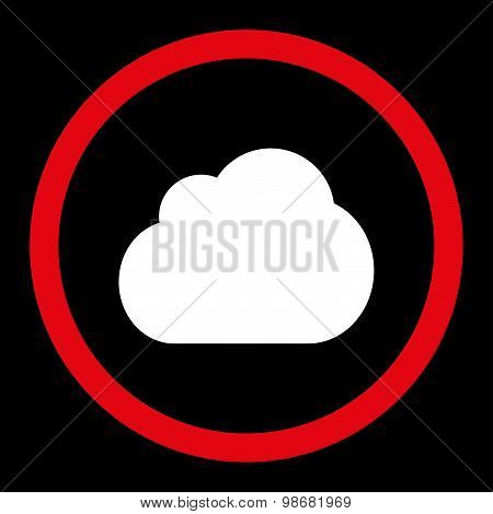 Cloud flat red and white colors rounded raster icon