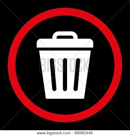 Trash Can flat red and white colors rounded raster icon