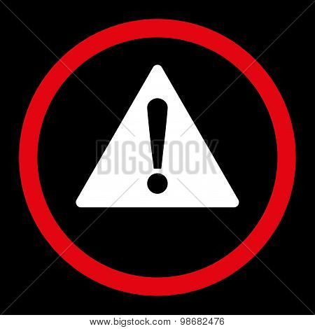 Warning flat red and white colors rounded raster icon