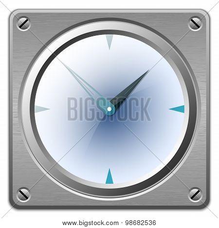 Vector Analog Clock On Metal Plate
