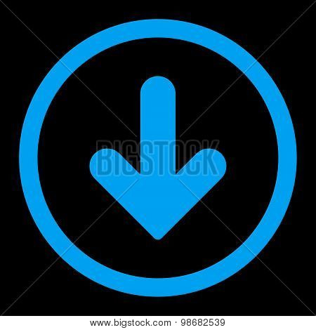 Arrow Down flat blue color rounded raster icon