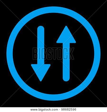Arrows Exchange Vertical flat blue color rounded raster icon