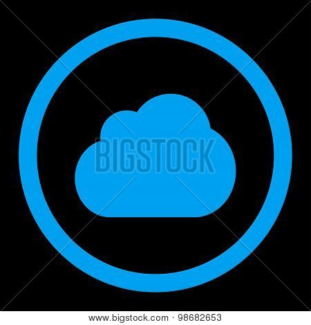 Cloud flat blue color rounded raster icon