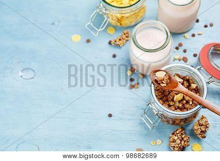 Yogurt with muesli.