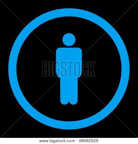Man flat blue color rounded raster icon