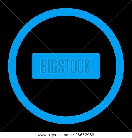 Minus flat blue color rounded raster icon