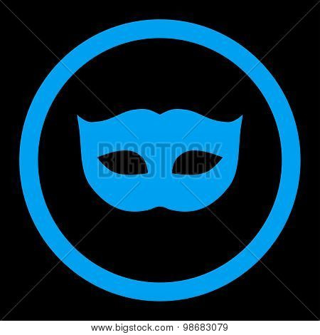 Privacy Mask flat blue color rounded raster icon