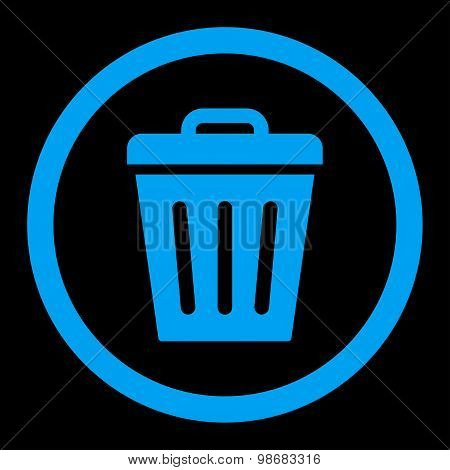 Trash Can flat blue color rounded raster icon