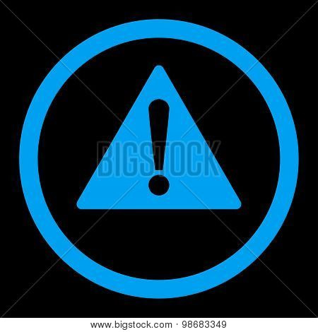 Warning flat blue color rounded raster icon