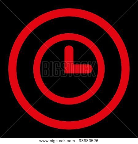 Clock flat red color rounded raster icon