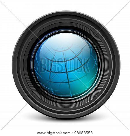 Photo Camera Lens With Earth Globe Inside