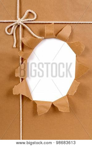 Brown Paper Package With Untidy Torn Hole