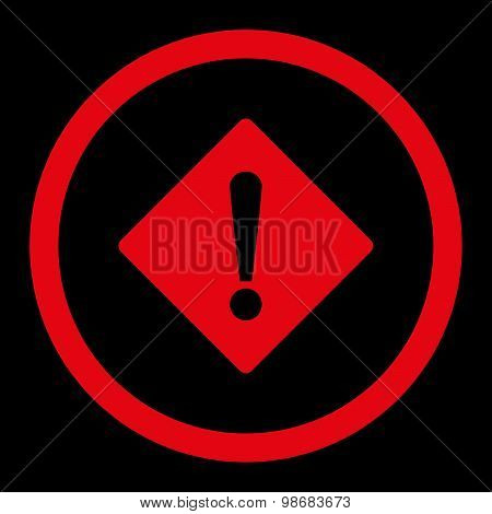 Error flat red color rounded raster icon