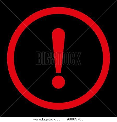 Exclamation Sign flat red color rounded raster icon