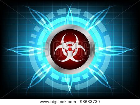 Modern Technology Biohazard  Button And Light Effect On Blue Background