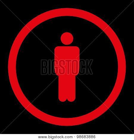 Man flat red color rounded raster icon
