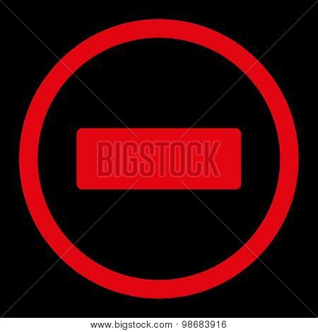 Minus flat red color rounded raster icon