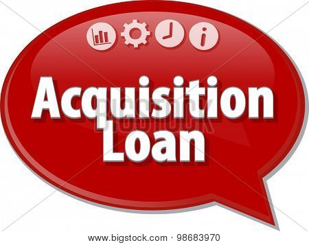 Speech bubble dialog illustration of business term saying Acquisition Loan