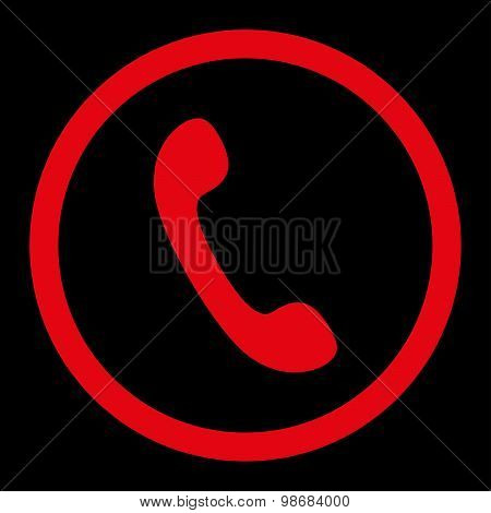 Phone flat red color rounded raster icon