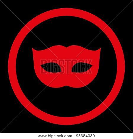 Privacy Mask flat red color rounded raster icon