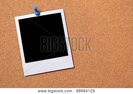 Blank Photo Pinned To A Cork Board