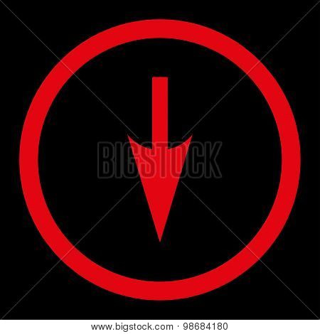 Sharp Down Arrow flat red color rounded raster icon