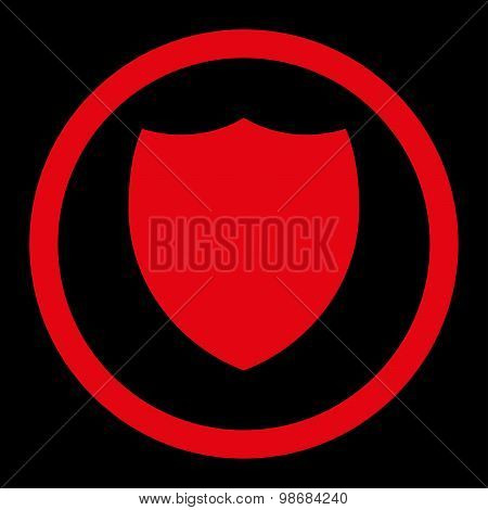 Shield flat red color rounded raster icon