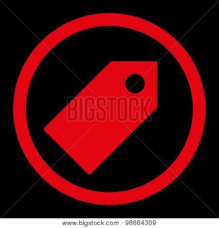 Tag flat red color rounded raster icon