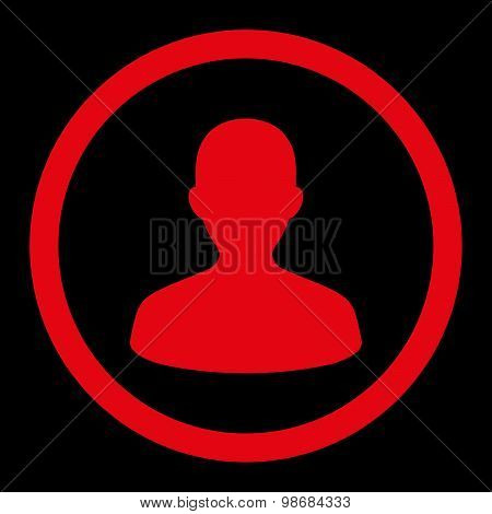User flat red color rounded raster icon