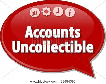 Speech bubble dialog illustration of business term saying Accounts uncollectible