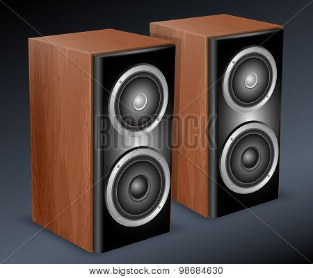 Wooden Audio Speakers. Vector Illustration