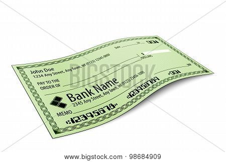 Vector Illustration Of Blank Bank Check With Shadow On White Background