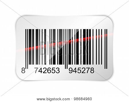 Barcode Sticker With Red Laser Beam. Vector Illustration