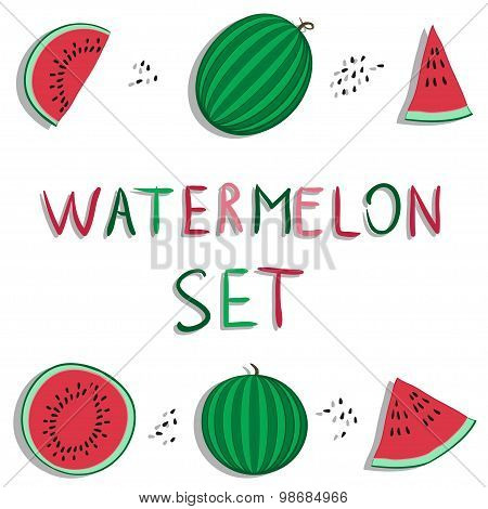 summer red watermelon vector set or collection