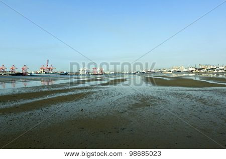 Low Tide In The Harbor, Durban South Africa