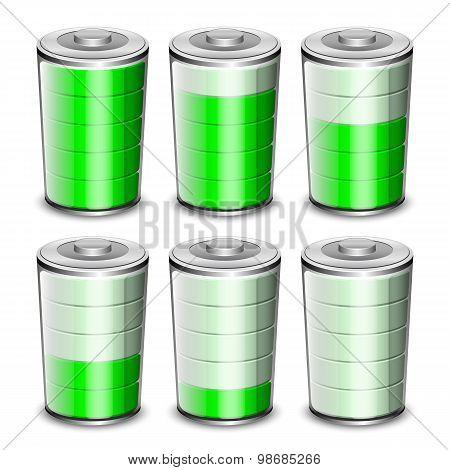 Battery Levels Icons Set, Vector Illustration