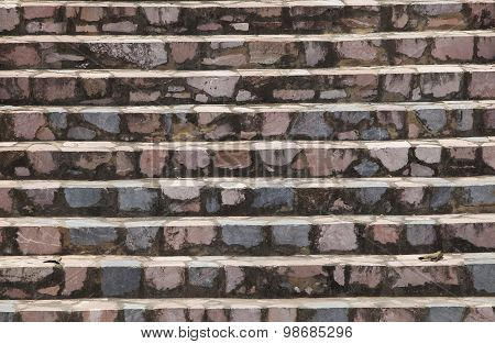 Close up of stone stair, granite stone stair