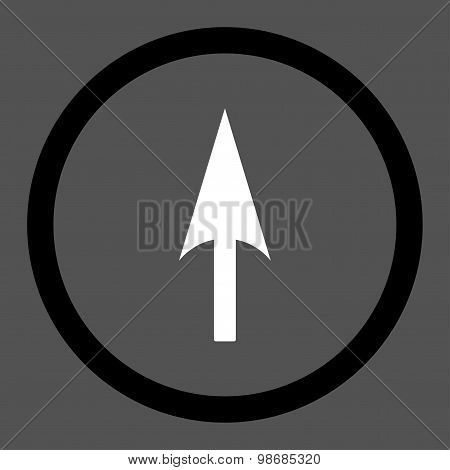 Arrow Axis Y flat black and white colors rounded raster icon
